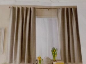 1 SET OF LIGHT GREY FULL-LENGHT BLACK-OUT CURTAINS