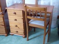 Set of Pine Bedroom furniture; dressing table, chest of drawers, 2 bedside tables and more