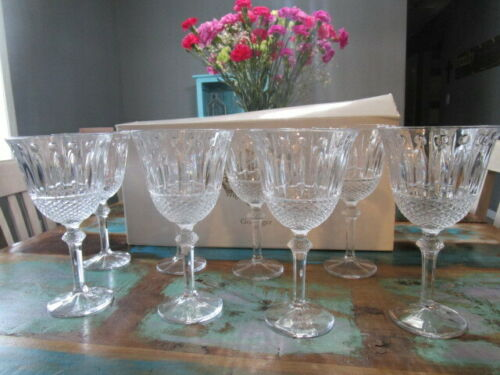 Shannon Crystal by Godinger 8 Piece 12 Ounce Sutton Place Wine Goblets Cups Tea