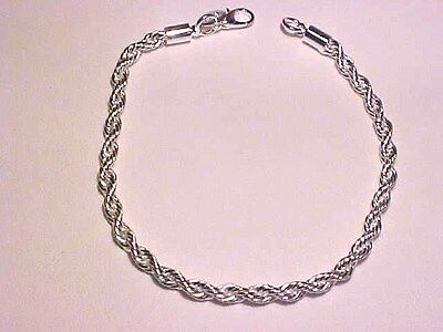 - Y-82  STYLISH IN VOGUE MOD .925 STERLING SILVER PLATED 4MM ROPE TWIST BRACELET