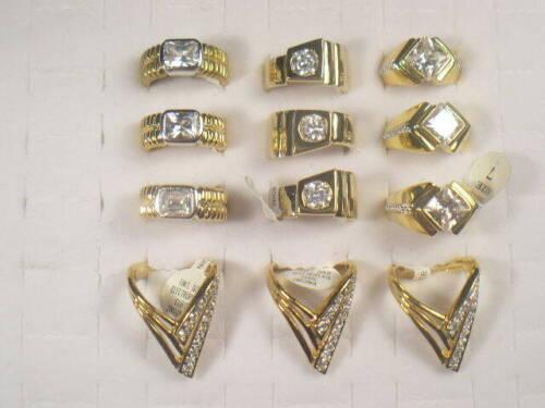 12.. CZ  MENS  RINGS  VINTAGE  WITH SIMULANTED DIAMOMD SWAROVSKI CZ