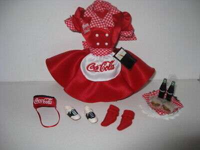 1998 Coca-Cola Barbie Waitress Outfit - Dress, Apron, Tray, Hamburgers, Bottles