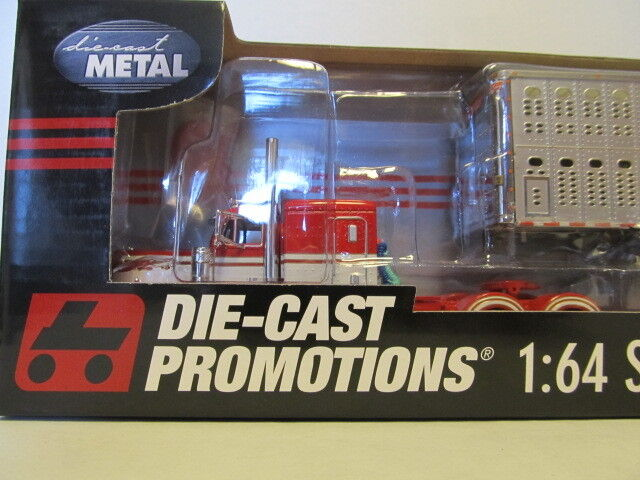 DCP 1/64 SCALE 379 PETERBILT FLAT TOP (BUCKSHOT EXPRESS) WITH CATTLE TRAILER
