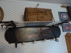 Hand painted wooden golf rack