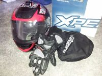MOTORCYCLE HELMET AND LEATHER GLOVES