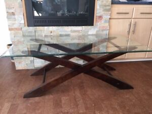 Coffee Table + 2 End Table Glass Top Great Condition!