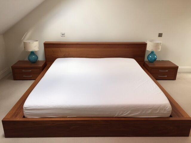 Bo concept walnut platform bed frame superking without for Concept beds