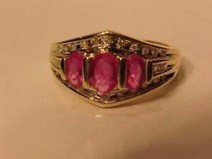 #131-Beautiful 10k yellow Gold Ruby & Diamond dress ring Size 7-Appraised $2,150.00 Sell $525.00 Free Shipping-interac