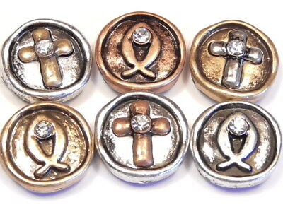- 6 - 2 HOLE SLIDER BEADS TRI COLOR METAL CRYSTAL CROSS & FISH CHRISTIAN BEADS