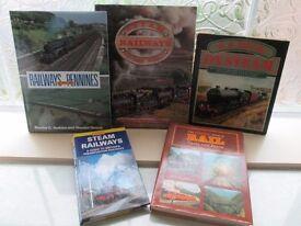 5 RAILWAY / TRAIN RELATED HARDBACK BOOKS-VGC-COLLECT OSSETT. WAKEFIELD-£8.