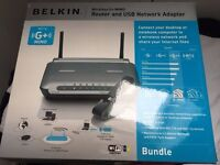 Belkin B/G+ router with USB network adapter