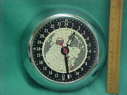 Vintage Mastercrafters World Time 24 Hour Military Chrome Wall Clock Runs!