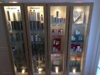 9 x wall display retail cabinets lockable with lights, movable shelves, salon, shop, jewellers