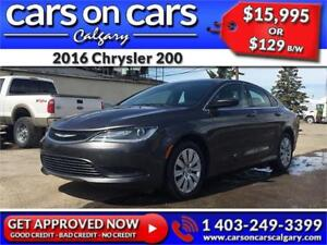 2016 Chrysler 200 w/Heated Seats, BlueTooth, USB Connect $129B/W