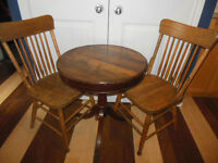 Shaker box style table with claw feet, or two wood chairs