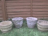 4 Garden Grey and Cotswold Plant Pots - Heathrow