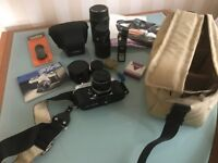 Vintage Yashica FX-2 35mm SLR Camera with Attachments & Case