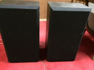 Pair of black wood speakers