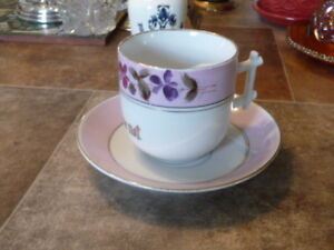 Beautiful Antique German Porcelain Mustache Cup And Saucer