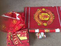 Manchester United Curtains, rug, single duvet, wallpaper and border