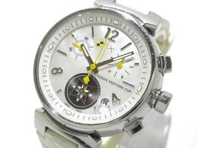 Auth LOUIS VUITTON TambourLovelycup Q132C WhiteShell White Silver RW7064