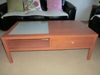Hard wood Coffee Table and matching one drawer lamp table