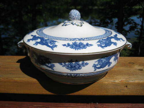 VINTAGE BOOTHS BLUE DRAGON COVERED SERVING DISH PATTERN # 9780