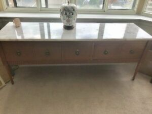 Marble Top Solid Wood Console Table with Plenty of Storage