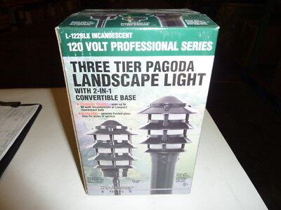 120 Three Light (Lot of 12 Three Tier Pagoda Landscape Incandescent Lights Black, 3 Tier, 120V )