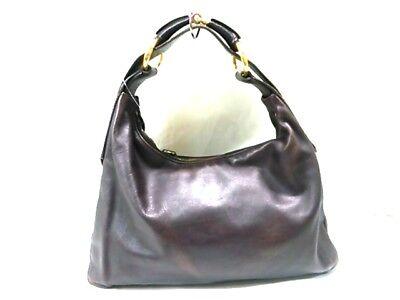 Auth GUCCI Horsebit 115867 DarkBrown Leather Shoulder Bag