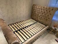 Barker & Stonehouse Odeon Rose Gold Plush Velvet Double Bed