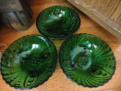 Anchor Hocking Burple Bubble Forest Green Fruit Bowl (s) (3) 4.5 Vintage