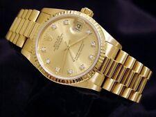 Midsize Rolex Datejust President 18K Yellow Gold Watch FACTORY DIAMOND 68278