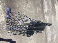 Full set of Women's golf clubs, two putters, two bags, 1,3,5 metal woods, 4-SW irons