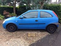 Blue Vauxhall Corsa 3door hatchback, with sunroof, running well