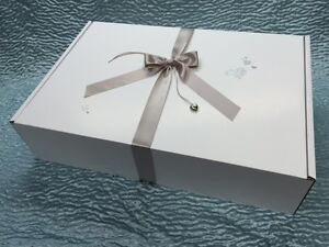 Large wedding dress storage box satin ribbon silver for Acid free boxes for wedding dresses