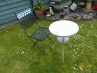 METAL PATIO CHAIR AND TABLE