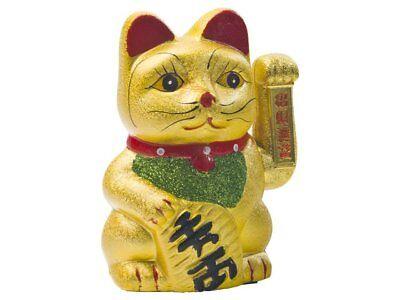 SPAREN! Keramik Glückskatze Gold 17,5cm Maneki Neko Winkekatze Glücksbringer