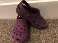 Purple Kids Crocs Size 8-9 (age 2-3 approx)