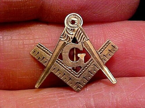 1880s Vintage Yellow Gold NOT Gold Filled Hand Engraved Masonic Mason Lapel PIN