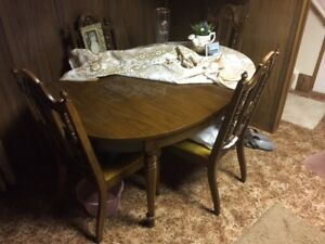 Dining Set - table, 4 chairs, china cabinet
