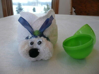 Happy Easter Bunny Rabbit Green Plastic Egg Holder for Treats Easter Bunny Rabbit Green