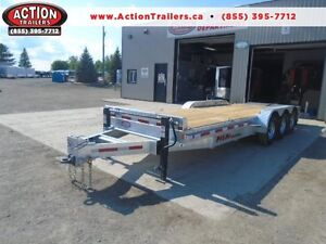 TRIPLE AXLE EQUIPMENT TRAILER GALVANIZED 24' BEAVERTAIL 21,000LB