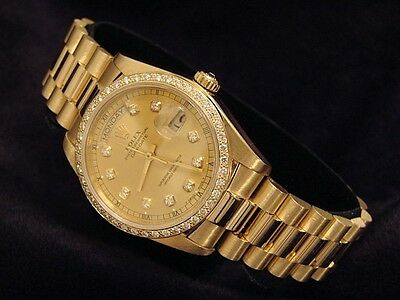 Mens Rolex Solid 18k Yellow Gold Day Date President w/Diamond Dial & Bezel 18038