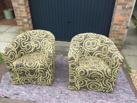 2 Upholstered Tub Chairs (swivel)