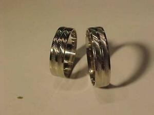 #3556-MATCHING PAIR OF 10K WHITE GOLD(HALLMARKED) WEDDING BANDS Sozes 5 1/2 & 9--Will ship FREE in Canada Only