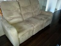 BEIGE MICRO-SUEDE RECLINING 3 SEATER COUCH  $375 OBO