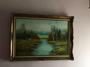 Antique Vintage Large Oil Landscape Painting (or best offer!)