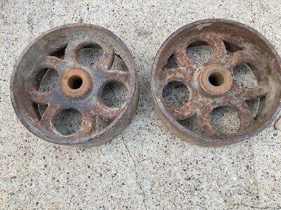Pair Antique Cast Iron Hit Miss Gas Engine Cart Wheels 8x 3 Beautiful