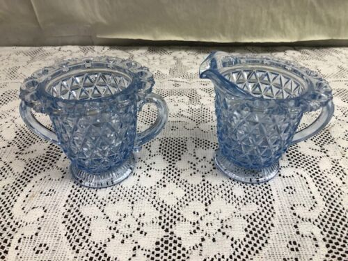 Imperial Glass - Katy Blue - Laced Edge - Creamer & Sugar Bowl